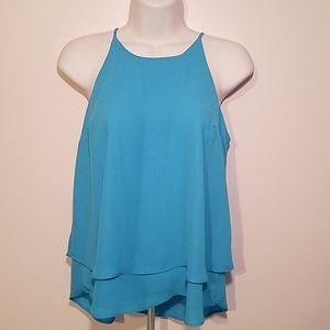 Pink Rose Layered Spaghetti Strap Top Blue Size S